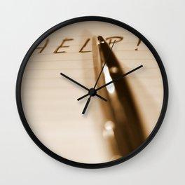 Pen Help Sepia Wall Clock