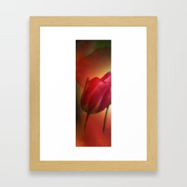 triptych - 4 tulips on watercolor - left Framed Art Print