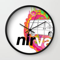 nirvana Wall Clocks featuring nirVANa by nick inglis