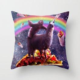 Space Sloth Riding Llama Unicorn - Taco & Burrito Throw Pillow