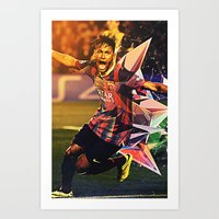 neymar Art Prints featuring Neymar by Max Hopmans / FootWalls