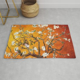 Vincent van Gogh Blossoming Almond Tree (Almond Blossoms) Orange Sky Rug