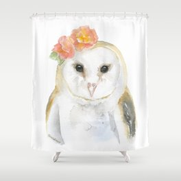 Barn Owl Floral Watercolor Shower Curtain
