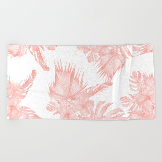 Tropical Hibiscus and Palm Leaves Coral White Beach Towel