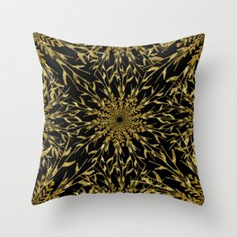Black Gold Glam Nature Throw Pillow