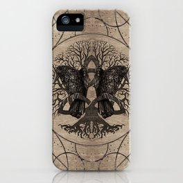 Tree of life - with ravens wooden texture iPhone Case