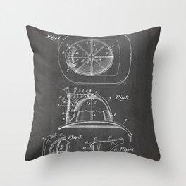 Firemans Helmet Patent - Fire Fighter Art - Black Chalkboard Throw Pillow