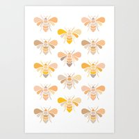 bees Art Prints featuring Bees by Heleen van Buul