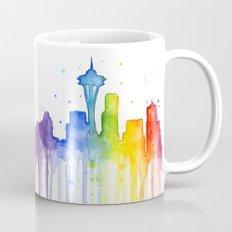 Seattle Skyline Rainbow Watercolor Mug
