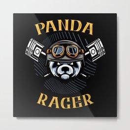 Panda Racer Motorcyclist Biker Gift Metal Print
