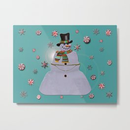 Blue Haze Snowman Ornaments Metal Print