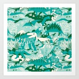 Dino world   blue Art Print