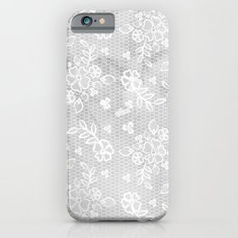 Beautiful Gray & White Floral Lace Pattern iPhone Case