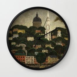 College Hill, Downcity Providence, Rhode Island by Edward Middleton Manigault Wall Clock