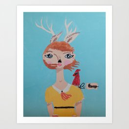 ~ Deer and Cardinal ~ 10 Year Old Amelia's Arizona Critter Girl ~ Deer and Cardinal ~ Art Print