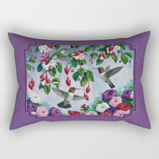 Hummingbirds in Fuchsia Flower Garden Rectangular Pillow