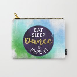 Eat Sleep Dance and Repeat faux gold foil glitter letters typography design for Dancer Carry-All Pouch