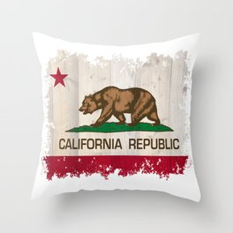 California Republic state Bear flag on wood Throw Pillow