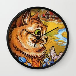 Cat Gathering Flowers-Louis Wain Cats Wall Clock