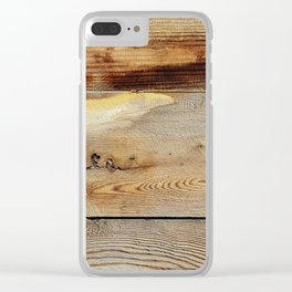 Wooden shipboard with nails and screws Clear iPhone Case