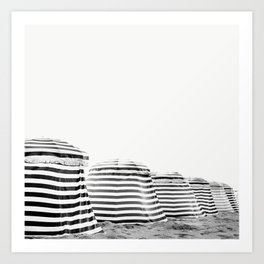Beach Stripes - Minimalist Black and White Photography Art Print