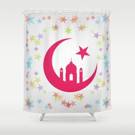 Mosque dome and minaret silhouette Shower Curtain