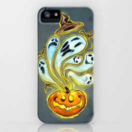 Pumpkins, ghosts and some bat iPhone Case