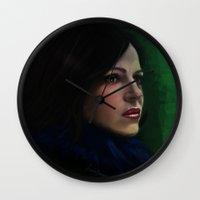 regina mills Wall Clocks featuring Regina Mills by LindaMarieAnson