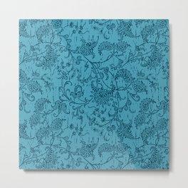 sarasa floral work on batik texture Metal Print