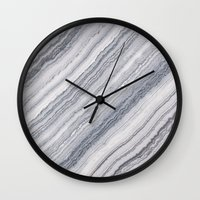 geology Wall Clocks featuring Grey Marble by Santo Sagese