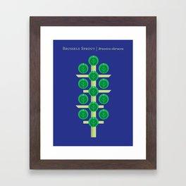 Vegetable: Brussels Sprout Blue Framed Art Print