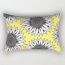 Yellow Sunflower in Black and White Hand Drawing Rectangular Pillow