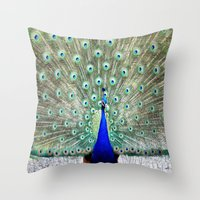 peacock Throw Pillows featuring Peacock by WhimsyRomance&Fun