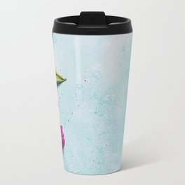 Sweet and colourful doughnuts with sprinkles, purple tulips and berries Travel Mug