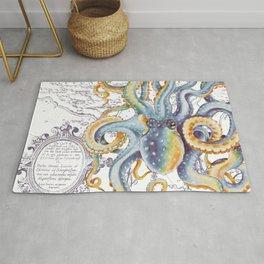 Octopus Steel Blue Vintage Map Rug