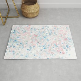 light pink and blue baby's breath flowers pattern Rug