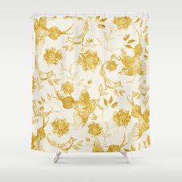 Oriental birds gold Shower Curtain