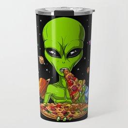 Alien Eating Pizza Travel Mug