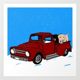Best Labrador Buddies In Old Red Truck Art Print
