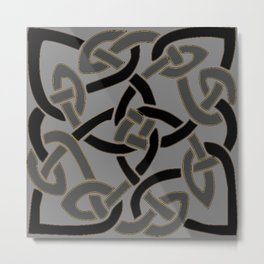 Charcoal Grey Color Celtic Art Metal Print
