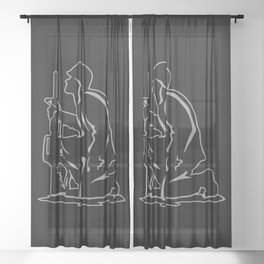 Military Serviceman Kneeling Warrior Tribute Illustration Sheer Curtain