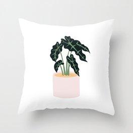 Elephent Ear Plant Throw Pillow
