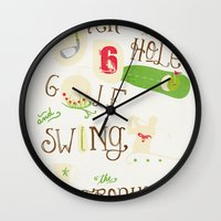 golf Wall Clocks featuring Golf  by Crea Bisontine