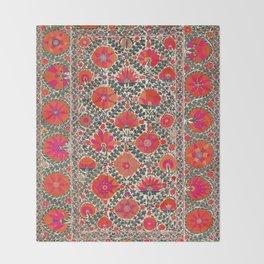 Kermina Suzani Uzbekistan Colorful Embroidery Print Throw Blanket