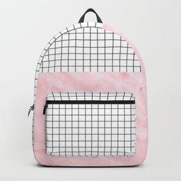 Modern Pink Granite on Grid Backpack