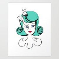 Cute Vintage Fashion Doll Sketch (Aqua hair and red lips) Art Print