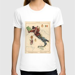 Vintage Illustrative Map of Italy (1869) T-shirt