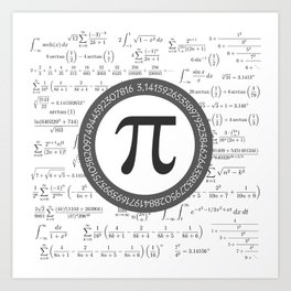 The Pi symbol mathematical constant irrational number, greek letter, and many formulas background Art Print