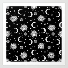 Linocut black and white sun moon and stars outer space zodiac astrology gifts Art Print