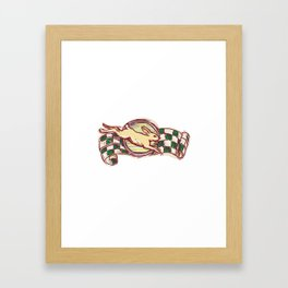 Rabbit Jumping Racing Flag Drawing Framed Art Print
